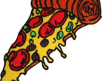 Embroidered Pizza Iron On Patch Sew On Badge Fast Food Cloth Embroidery Applique