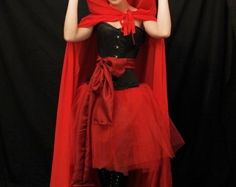 Red riding hood steel boned halloween corset -corset and sash-made for buyer