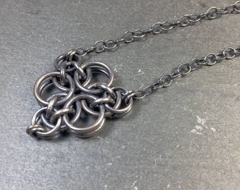 Moirae Necklace Oxidized Sterling Silver Chainmaille
