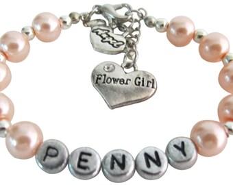 Fille de fleur Bracelet nom personnalisé fille enfant mariage baptême bébé cadeau personnalisé fille Bracelet livraison gratuite aux Etats-Unis