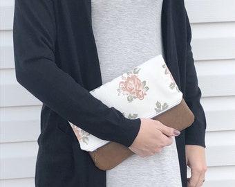 Floral Brown Vegan Leather Foldover Clutch / Floral Foldover Clutch / Fold Over Clutch / Brown Vegan Leather / Faux Leather Foldover Clutch