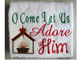 Stable Applique design,  Stable Embroidery Designs, Embroidery Applique design stable, machine embroidery, O Come Let Us Adore Him 2 Sizes