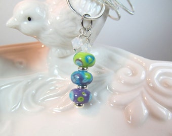 Neckace blue green purple glass art lampwork stacked beads with crystals