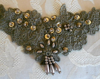 Green Sequined Beaded Floral Appliques