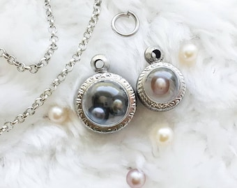 Terrarium Pearl Cage Necklace for Pick a Pearl at Epcot Disney Locket Princess Necklace Silver Pearl Locket Open an Oyster Akoya Pearl