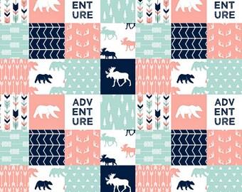 Woodland Baby Girl Bedding, Woodland Crib Bedding, Crib Blanket, Baby Girl Quilt, Coral Navy Mint Teal, Moose Bear Adventure Arrow Antler
