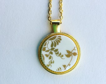 Gold Design - Broken China Pendant - Vintage Plate Necklace- English Broken Plate Pottery Necklace -Bone China