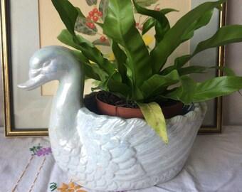 Large, Blue Lustre, Swan Planter