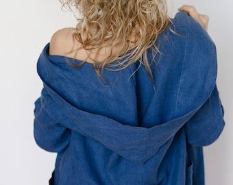 Linen hooded bathrobe, linen bathrobe, luxury spa robe, linen nightgown, linen robe, organic robe, morning coat, linen clothes, house dress