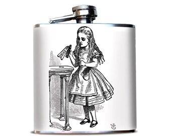 Drink Me Wonderland Flask, Alice in Wonderland  Print, Premium Flask, Retirement Gift, Maid of Honor Gift, Wedding Favor