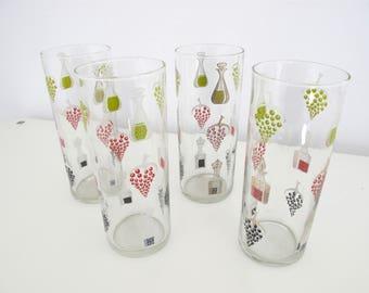 Lot of 4 beautiful vintage 1950s glasses