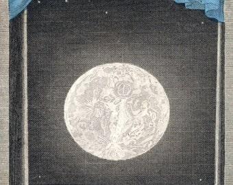 "Vintage Constellations Print ""Luna"" Outer Space Nautical Stars - Elegant Victorian Moon Art Print"