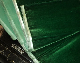 Antique Silk Velvet Old Store Stock Emerald Yardage available French Milinery, Upholstery, Dolls Victorian