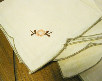 Luncheon Napkins(6) Delicately Embroidered Table Linens Ecru with Sweet Pink Foral Embroidery Retro Shabby Chic Home Decor Decorator Item