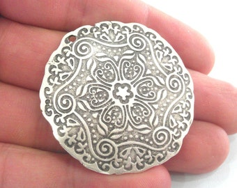 1 Pc (45 mm) Oxidized Silver Plated  Medallion  Pendants G1102