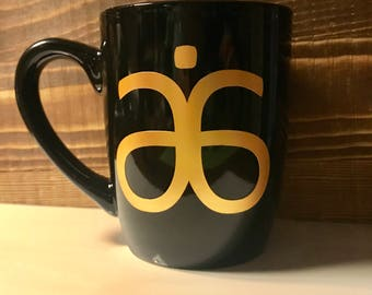 Black and Gold Arbonne detox tea coffee mug