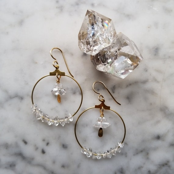 Brass hoops with water clear herkimer diamonds