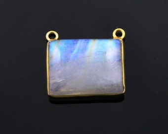 Natural Rainbow Moonstone Faceted Oval Connector, 24K Gold Vermeil Over Sterling Silver, Incredible Blue Fire, 13x19mm,1 Piece, (MN05FNCY)