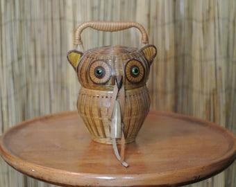 Vintage 1950s Wicker Animal Purse Novelty Owl Basket Evening Purse