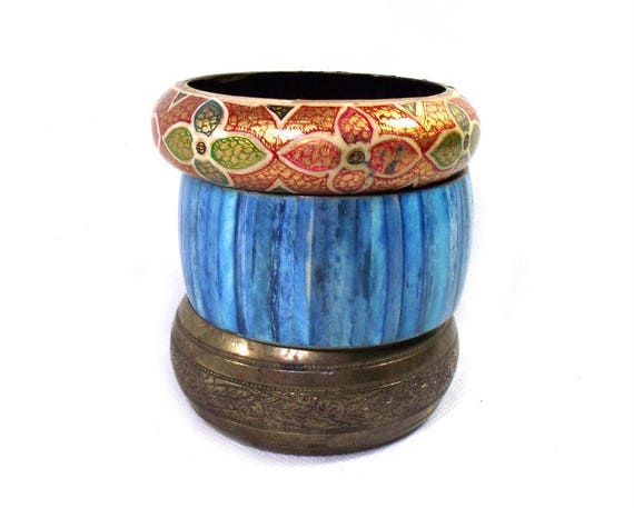 Vintage Set of Brass Bangles with Kashmiri Paper Mache Bangle