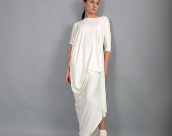 Off white dress, Maxi Dress,Loose fit dress, Long Dress, Elbow sleeves dress, Asymmetric dress, Woman dress,Irregular Dress,  Dress, UM238VL