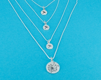 Mother Daughter Necklace Set. Mother Daughter Jewelry. Mother Daughter Dandelion.  Mother's Day Gift.  New Mother Gift.  Adoptive Mother.