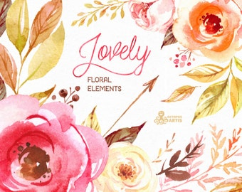 Lovely Flowers. Separate floral Elements. Watercolor Clipart, peony, flourish, arrows, diy, valentines, wedding, country, boho, romantic