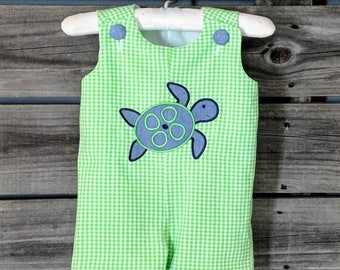 Boys Sea Turtle Shortalls in Lime Green and Chambray- monogram included