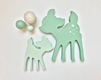 Mint Nursery Decor . Wooden Deer Ornament . Woodland Nursery Decor . Green Nursery . Deer Home Decor . Fawn Ornament .
