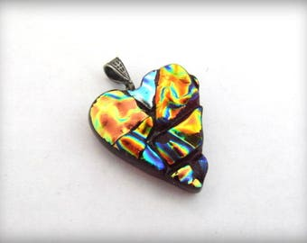 Dichroic Fused Art Glass Heart Pendant
