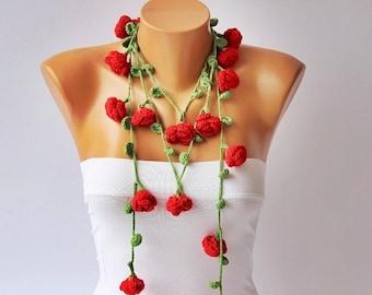 crochet lariat scarf ,flower scarf,scarf