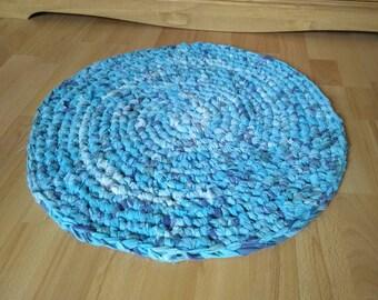 Handmade Crocheted Round Rag Rug, Eco Friendly, Upcycled Vintage Bed Set, Eco Rug.
