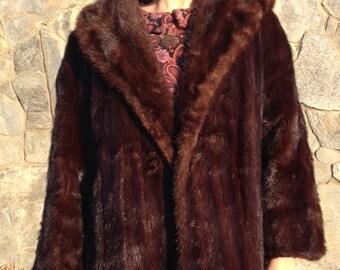 Mink Coat, Brown, Mink Fur, Coat ,Mid Length ,Long ,Vintage fur,Embroidered Lining