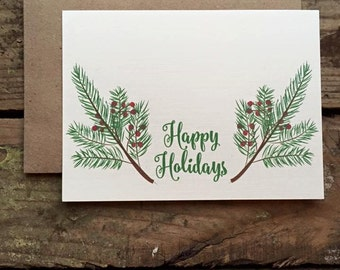 Happy Holidays Cards with Envelopes / Holiday / Christmas Card / Rustic Country Christmas Cards