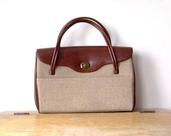 Vintage Canvas and Leather imitation Handbag, Dova, beige, brass