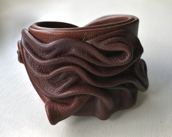 Brown leather handmade bracelet