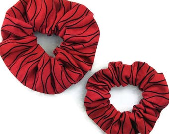 Red black cotton scrunchie READY TO SHIP, mom and me hair scrunchies set, scrunchies gift pack, child adult women scrunchy elastic hair tie
