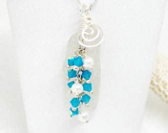 Sterling Crystal Necklace,  Sea Glass Jewelry, Sea Glass Gift, Gift For Mom, Lake Erie Jewelry, Lake Necklace