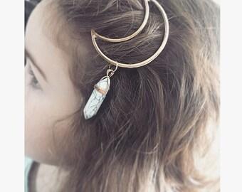Crescent moon hair pin