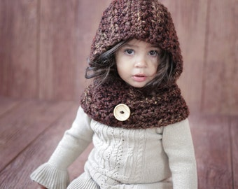 Scarf CROCHET PATTERN Toddler & Girls Hoodie Cowl Easy The Ginger  From the Danica Collection 2 sizes