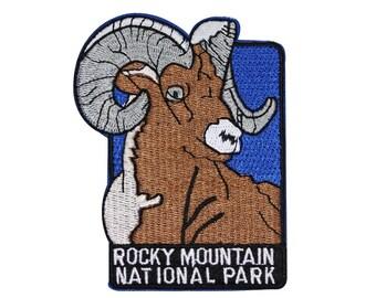 """Souvenir Patch """"Rocky Mountain National Park"""" Bighorn Sheep Iron-On Applique"""