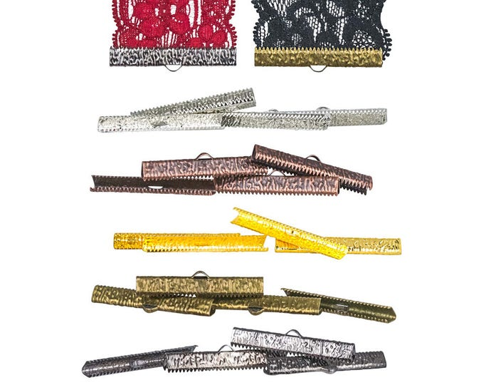 40mm or 1 9/16 inch Ribbon Clamps Ends Crimps with Loop - 20 pieces in Mixed Finishes - Artisan Series
