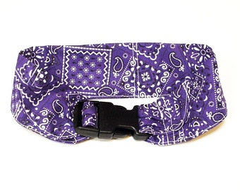 Dog Neck Cooler Collar, Stay Cool Pet Fabric Cooling Collar Band, Buckle Adjustable Size Medium 14 to 18 inch, Purple Bandana Print iycbrand