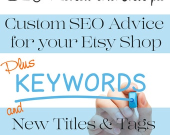 SEO Help - SEO Optimization - SEO Shop Review - Shop Critique plus Custom Titles & Tags for Five Listings in Digital Documents - Plus More