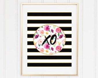 XO wall art print, XO printable art, XO print, xoxo, Kisses and hugs, Hug and kiss, floral, black stripes, Tea Time, Office, Trendy, Kate
