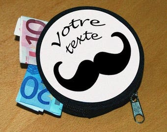 Personalized name or text mustache wallet