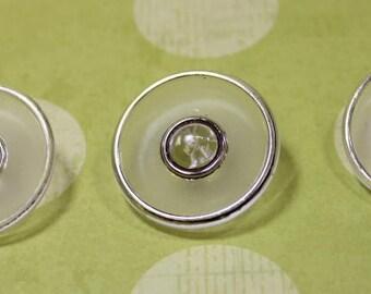 Glass Buttons 3 Clear Glass Silver Trim 1-1/16 Shank Buttons 3 Art Deco Glass Buttons