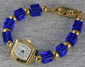 Handmade Cobalt Blue Square Bead Watch