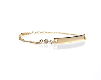14K Diamond ID/Bar Double Chain Bracelet - Made To Order