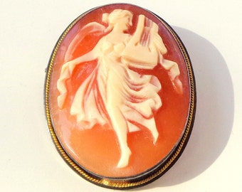 Victorian, Hand Carved Conch Shell, Cameo Pendent/Brooch, Antique Carved Cameo Brooch Pendant Dancing Lady Holding A Harp Sterling Frame